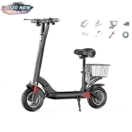 "Electric Scooter, Folding E Scooter for Adult, 500W Motor, Speed Up to 28Mph, LCD Display, Maximum Load 330Lbs,10"" Off-Road Tyre, Dual Brake, Front LED Light Warning Taillight"