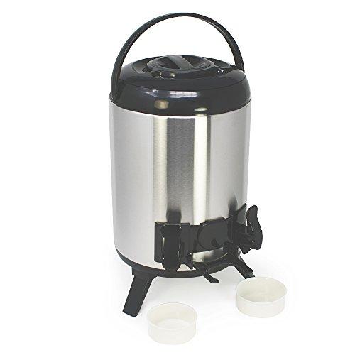 com-four® Thermoskanne XXL aus Edelstahl - Isolierkanne mit 2 Zapfhähnen und Tropfschalen - Airpot für heiße und kalte Getränke (01 Stück - 9 Liter)