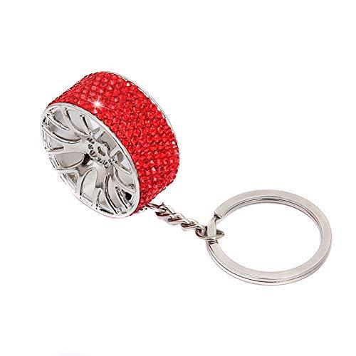 Llavero con forma de neumático de cristal para coche para mujer,Llavero de rueda de coche de diamante
