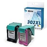 IDIAK Cartuchos de Tinta 302XL remanufacturados compatibles con HP 302XL con HP DeskJet 1110 1111 1112 2130 2134 3630 3632 Envy 4513 4520 4521 4522 Officejet 3830 3834 3835 4650 4651 Negro+Tricolor