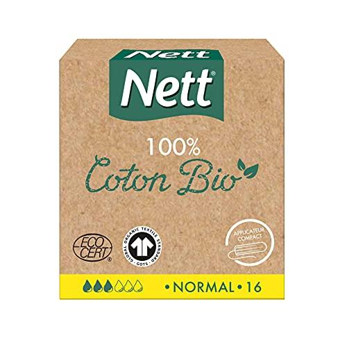 Nett Coton Bio Tampon avec Applicateur, Normal, Boite de 16 Tampons