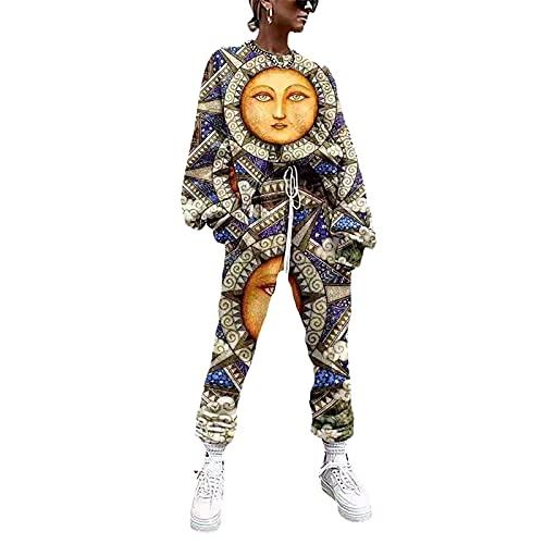 YZJYB 2 Piezas Conjunto Deportivo Mujer Sudadera Pantalones Sueltos Largos con Cordón Chándales De Primavera Otoño Casual Hipster Deportivas,Multi Colored,XL