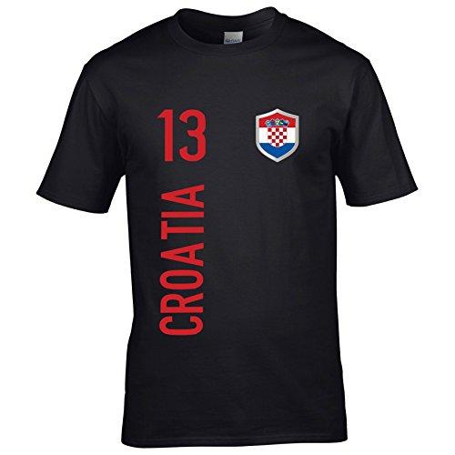 FanShirts4u Kinder Fanshirt Trikot Kroatien Croatia Hrvatska T-Shirt inkl. Druck Wunschname u. Wunschnummer EM WM (3/4 Jahre 98-104 cm, schwarz/Croatia)