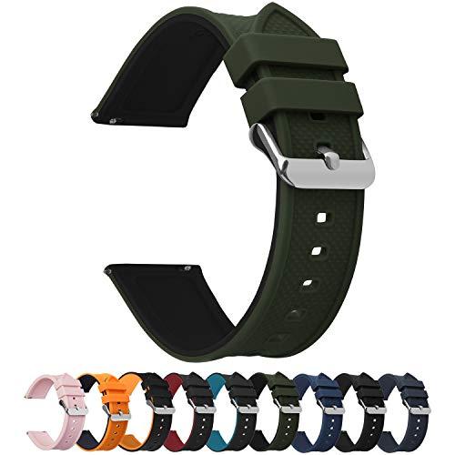 時計バンド ベルト22mm,Fullmosa全10色腕時計ベルト バンド 22mm 20mm 18mm 24mm シリコン製 柔らかい 防水ベルト 替えベルト バンド 22mm エイミーグリーン+ブラック