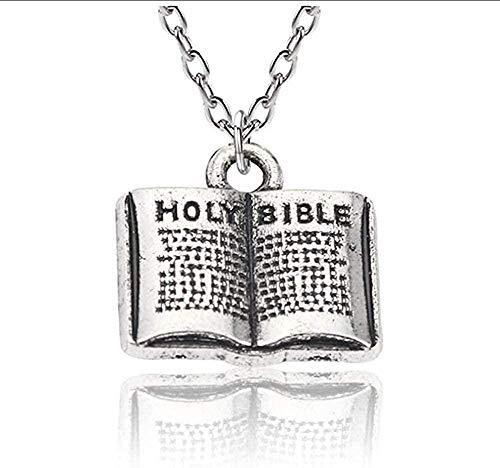 LBBYMX Co.,ltd Necklace Mini Holy Bible Necklace Kawaii Cartoon Vintage Punk Book Charms Pendant Unisex Cross Choker Jewelry Christian Gifts Collar