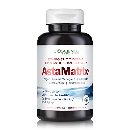 AstaMatrix® Boost Your Immune System with Algal Omega 3 DHA EPA Astaxanthin   Vegan-Friendly Alternative to Krill Oil or Fish Oil   Promotes Joint Heart Brain & Skin Health   60 Vegan SoftGels