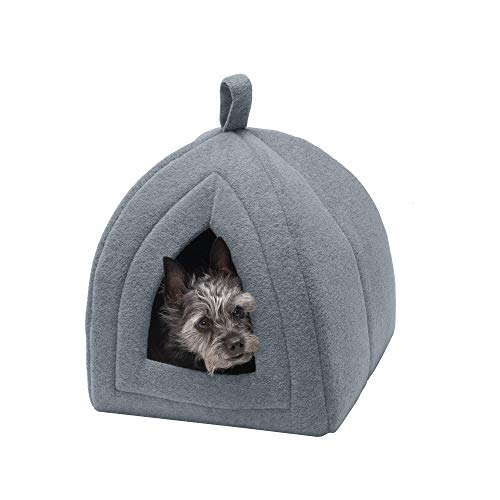 Furhaven Pet Cat Bed - Triangle Hooded Tent House Cave Fleece Dome Lounger Hood Pet Bed for Cats and Small Dogs, Heather Gray, One-Size