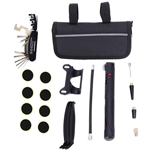 Multifunction Bicycle Repair Tool Kit with Mini Pump 16 in 1 Screwdriver Mountain Bike Tool Set Tire Patch Repair Protable Cycling Mechanic Tool for Bikes, Mountain bike, Bicycle, Scooters ect