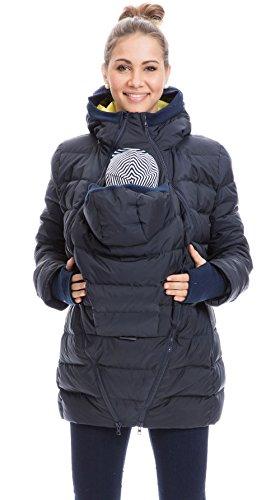 GoFuture Damen Tragejacke für Mama und Baby 4in1 Känguru Jacke Umstandsjacke Daunen Winter Noorvik GF2318XB5 Marine mit grünem Innenfutter Gr. 42