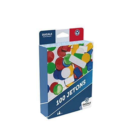Ducale, le jeu français- Boîte de 100 jetons de Couleur-Jeu de Voyage, 130010718