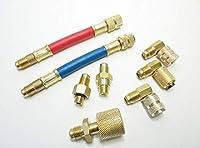 エアコン ガスチャージ 接続 アダプター 細口 エルボ アダプターセット 8種類 R12 R22 R134a R502等