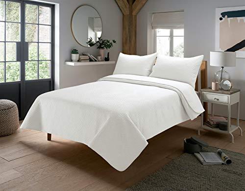 Olivia Rocco Capri gesteppte Tagesdecke Designer Doppel King Tröster Überwurf Bettüberwurf Überwürfe 240 x 260 cm weiß