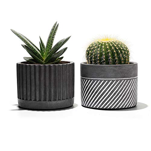 Potey Cement Planter Flower Pot - 4.1' Bonsai Containers Unglazed Medium for Indoor Plant with Drain Hole - Set of 2,Gray