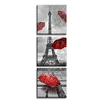 S-ANT Paris Eiffel Tower Art Paintings Red Umbrellas Flying on The Rain Wall Decor Posters Print on Canvas  1212inch3  Multi
