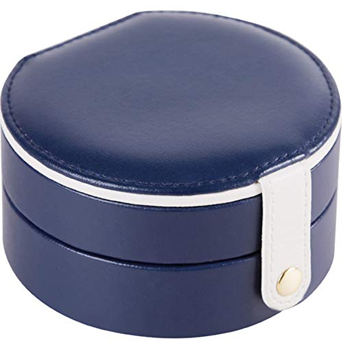 Fransande Oval with Make Up Mirror Storage Box Women Gift Pu Leather Travel Jewelry Organizer Five Color,Dark Blue