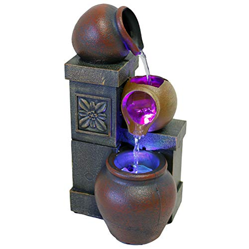 Nature's Mark 10' H Rustic Vase Color Changing LED Funtain (No Adapter)