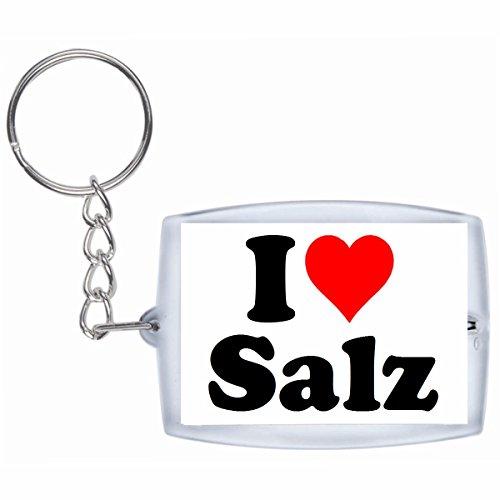 Druckerlebnis24 Schlüsselanhänger I Love Salz in Weiss - Exclusiver Geschenktipp zu Weihnachten Jahrestag Geburtstag Lieblingsmensch