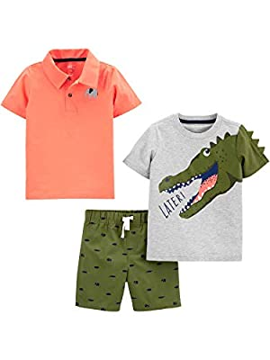 Simple Joys by Carter's Boys' Toddler 3-Piece Playwear Set, Alligator/Elephant, 2T