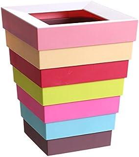 ゴミ箱、ゴミ貯蔵所、时尚创意折叠塑料七彩垃圾筒家用客厅卫生间垃圾桶23*23*5-30cm, pink top ハイクオリティ