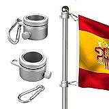 Wrightus - Anillos de montaje para mástil de bandera de aluminio, rotación de 360 grados, kit de barra de bandera giratoria, mosquetón de 1,90 – 2,59 cm de diámetro, paquete de 2