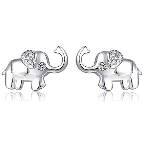 Pendiente de elefante para mujer Joyería de elefantes de plata de ley 925