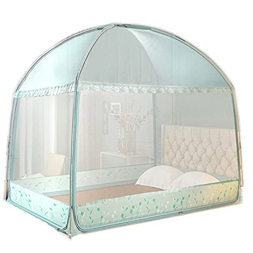 VNUWFM Mosquitera Cama,Design a 3 Porte,Móvil Plegable Tienda,Diseño Plegable con Parte Inferior,Agujero FinosPortátil, Viaje/Hogar/Bebés Mosquito Cortina,Rosado,1.5m (5 Feet) Bed