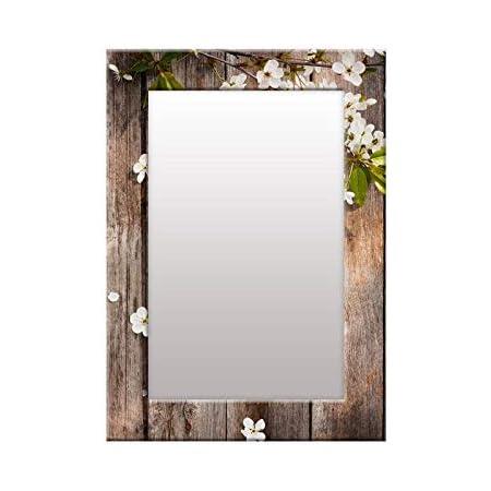999Store Printed Brown Wooden Flower Pattern Mirror
