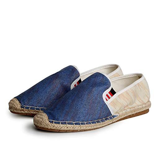 Hemp Wrap Soft Woven Upper Ethnic Canvas Espadrilles for Men Nation Slip On Shoes Men Summer Bling Men's Loafers Shoes Blue 8
