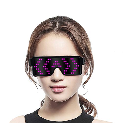 TEZERO Led Light up Glasses 11 Animations USB Rechargeable Wireless with Flashing LED Display Unisex Glowing Luminous Glasses for Christmas Party Bars Rave Festival Dancing Shows (Pink)