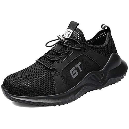 Koyike Zapatos de Trabajo de Seguridad para Hombres Zapatos con Punta de Acero de Malla Transpirable Zapatos Resistentes a Las Perforaciones,B-43