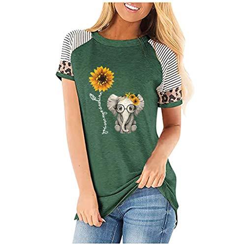 Tops Damen Bauchfrei, Frauen Sunflower Leopard Kurzarm O-Ausschnitt Bedruckt Casual Tops T-Shirt