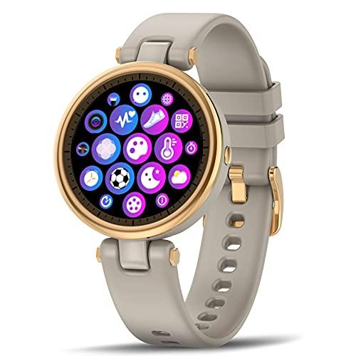 """Smartwatch 1.09"""" Reloj Inteligente Mujer Impermeable IP67 Pulsera Actividad con Pulsómetro Monitor de Sueño Monitores Actividad Cronómetros Calorías Podómetro para Android iOS (Marrón)"""