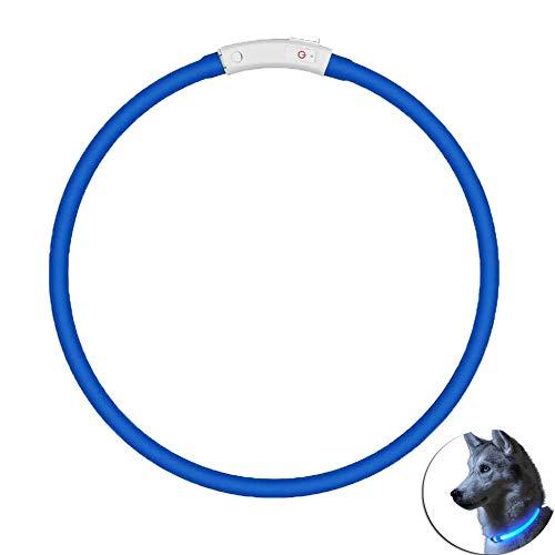 USB Wiederaufladbar Hundehalsband Leuchtend, Leuchtendes Hundehalsband, Beleuchtetes Hundehalsband mit 3 Leuchtenden Modi und Einstellbarer Größe, für Kleine Mittelgroße Hunde und Katzen, 70 cm (Blau)