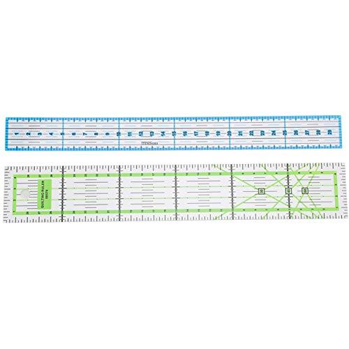 KUIDAMOS 2 Stück/Set Mini-Nähwaagen-Lineale, Quiltlineal, Acryl-Quiltwerkzeug mit zweifarbiger Gitterlinie zum Messen von Zeichenstichen, Nähen & Basteln