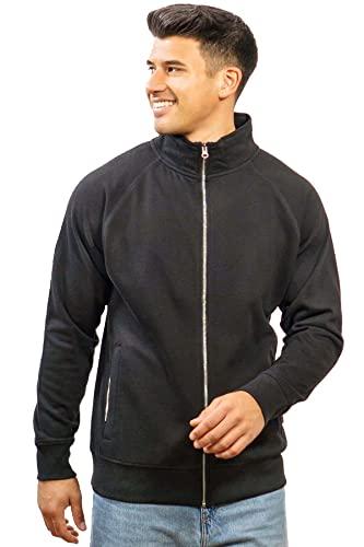 Happy Clothing Herren Sweatjacke ohne Kapuze Zip-Jacke Reißverschluss mit Kragen, Größe:L, Farbe:Schwarz