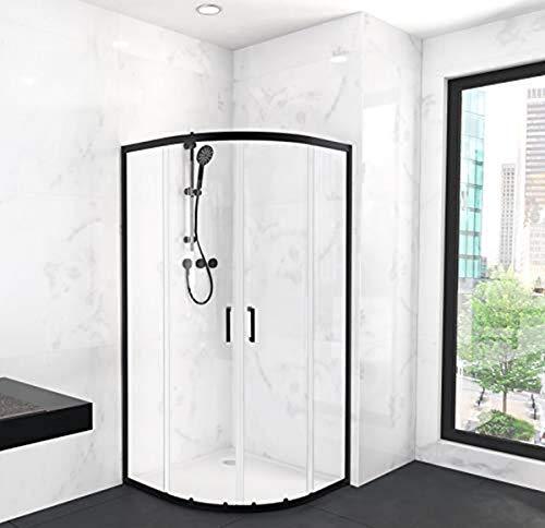 MARWELL CITY Glasdusche Rund 90 x 90 x 200 cm - Radius 55 cm - hochwertiger Aluminiumrahmen 6mm starkes Einscheibensicherheitsglas, Matt Schwarz