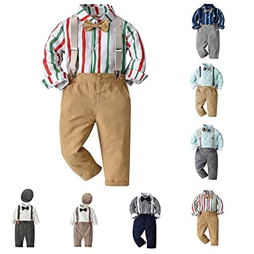 Conjunto de ropa para bebé y niño, 3 piezas, camisa, body de manga larga, pantalones largos y corbata, para ceremonias de boda, 12 meses a 6 años, caqui, 4- 5 Años