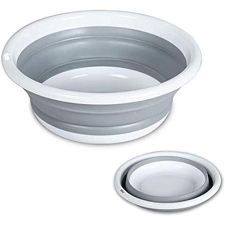 RULAYMAN 折りたたみ 洗面器 たらい 洗い桶 足湯 掃除 洗濯 バス キッチン 4色 (グレー, S)