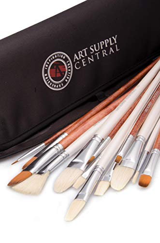 14 Piece Artist Brush Set, HandMade Superior Quality 7 Natural Bristle...
