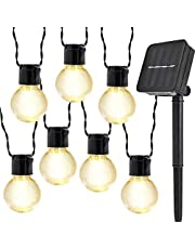 10LED Zonne Bollampen Lichtslingers,KINGCOO Waterdichte 2M LED Gloeilamp Zonne-energie Fee Lichtsnoeren voor Buiten Binnen Tuin Kerstversiering Verlichting (Warm wit)