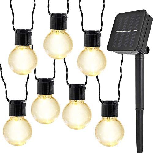 Guirlande Lumineuse Solaire Ampoules,KINGCOO Imperméable 10 LED Globe Boules Lumières Décoratives Lampes à Cordes pour intérieur/Extérieur,Jardin,Décorations de Noël Éclairage (Blanc Chaud)