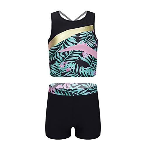 YONGHS Kids Girls Swimsuits Printed Bathing Suits Summer Beach Swimwear 2Pcs Bikinis Tankini Sets with Boyshort Green Lily B 12