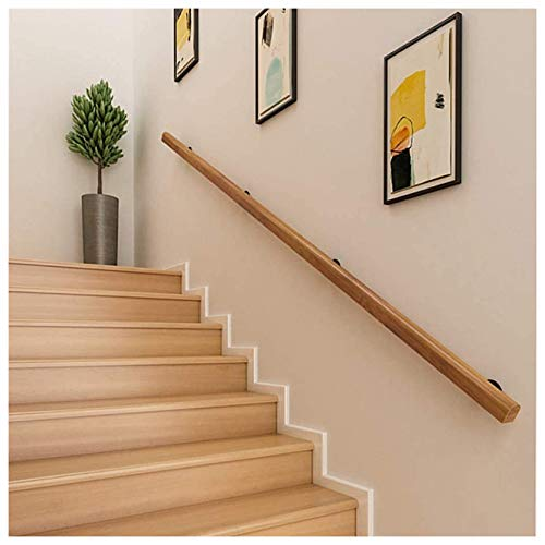 Pasamanos MAZHONG Escalera De Madera Maciza Kit Barandillas Antideslizantes para Personas Mayores Montaje En Pared Varilla De Soporte para Pasillo para Interior Y Exterior(Size:200cm)