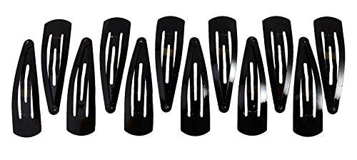 Banithani 12pezzi di metallo Snap fermacapelli tic tac Barrettes dei capelli di regalo per donne, Metallo, colore: Black (Design#5), cod. HA46A