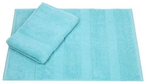 Betz Lot de 2 Tapis de Bain de Taille 50 x 70 cm 100% Coton Deluxe qualité 680 g/m² Color Turquoise