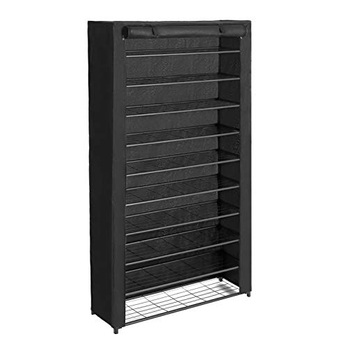 SONGMICS 10-Tier Shoe Rack, Shoe Storage with Dust Cover, Shoe Shelf with Stable Iron Structure,...