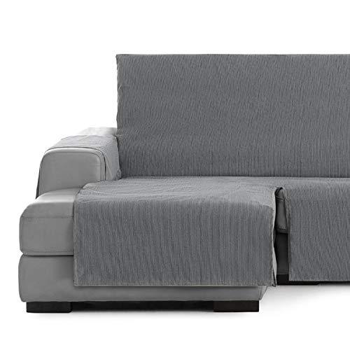 Vipalia Cubre Sofa chaiselongue Ajustable. Funda para Sofa Chaise Longue Brazo Izquierdo Largo. Protector Antimanchas Chenilla. Color Gris. Chaise Largo Izquierda