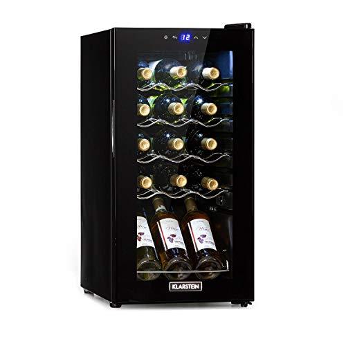 KLARSTEIN Shiraz Slim - Frigorifero per Vini, Cantinetta, Classe Energetica G, 5-18 °C, 42 dB, Pannello Soft-Touch, Luce LED, Posizionamento Libero, 4 Ripiani, 44 Litri, per 15 Bottiglie, Nero