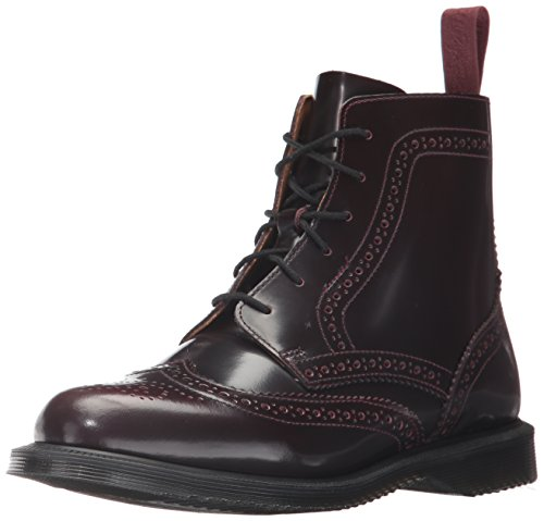 Dr. Martens Women's Delphine Ankle Boot, Cherry Red Arcadia, 6