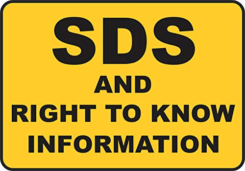 Etiqueta - Seguridad - Advertencia - SDS and Right To Know Sign 177mmx 254mm - Decal for Office - ficina, empresa, escuela, hotel